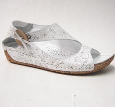 Charlotte of Sweden sandalsko i skinn vit
